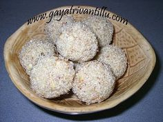 Rawa (Sujji) Laddoo Exhaustive recipe text in English available on http://www.gayatrivantillu.com/recipes-2/sweets-and-savory/rawaladdoo