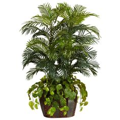 4.5 ft. Green Double Areca with Vase and Pothos Silk Plant