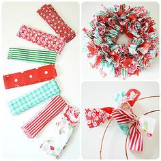 How to make a rag wreath DIY wreath ideas decoration on a budget - Wreath Ideen Diy Gifts For Christmas, Christmas Wreaths To Make, How To Make Wreaths, Holiday Wreaths, Handmade Christmas, Holiday Crafts, Diy Xmas Craft Ideas, Diy Ideas, Make Your Own Wreath