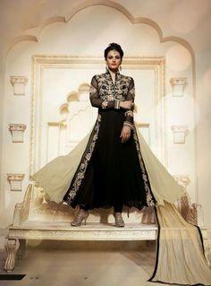 Black Georgette Embroidered Work Salwar Kameez Online India ,Indian Dresses - 1