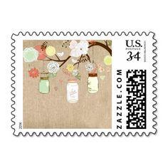 Country Rustic Mason Jars Wedding Burlap Stamp