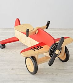 Fly the friendly floors with this exclusively designed airplane ride-on. With a sturdy wood construction and nontoxic finish, it's ready and rarin' for takeoff. http://amzn.to/2t2xH7E