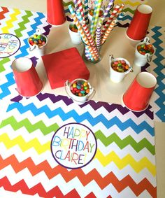 PERSONALIZED OUTDOOR & INDOOR PAPER PLACEMATS - This one is a Bright & Colourful rainbow Chevron Birthday theme. Perfect for your childs Rainbow