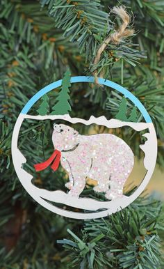 Make a DIY Bear Glitter Christmas Ornament craft with paint, glitter, and glue. Includes step by step tutorial #sponsored