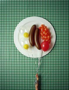 "A ""light breakfast"" anyone? – brilliant conceptual work from David Sykes. Kaktus Cupcakes, Still Life Photography, Food Photography, Balloons Photography, Landscape Photography, Breakfast Desayunos, Birthday Breakfast, Foto Art, Creative Food"