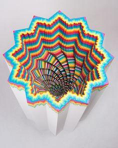 """""""Cosmic Complex"""" by Jen Stark; paper, foam board, wood, acrylic paint."""