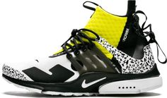 Nike Air Presto Mid/Acronym White/Black 'Acronym - Dynamic Yellow' Grey Yellow, Black And Grey, Nike Presents, Next Trends, Air Presto, Silhouette Design, Air Jordans, Two By Two, Nike Air