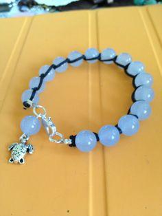 Blue Gem Bead Leather Bracelet by joytoyou41 on Etsy, $25.00