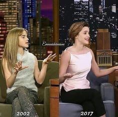 Lovely Emma Watson 2002 and 2017 Mundo Harry Potter, Harry Potter Jokes, Harry Potter Pictures, Harry Potter Fandom, Harry Potter Characters, Harry Potter World, Draco Malfoy, Severus Snape, Fangirl