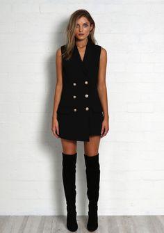 Madison - KENDAL VEST DRESS - BLACK - Under $60 Dresses - Onceit