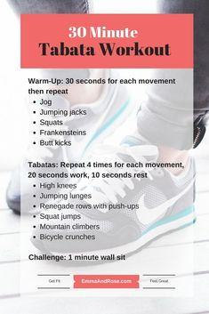 30 Minute Tabata Workout - Find more workouts at www.emmaandrose.com. Anyone can do these workouts, whether this is your first time working out or you are coming back from taking a break or you already workout regularly.