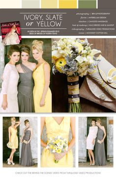 ivory, slate and yellow #wedding #colors