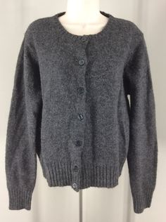 Lerner New York Wool Blend Sweater Gray Medium M Black Buttons New With Tag #LernerNewYork #Cardigan