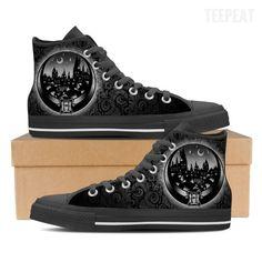 22f04d73f43627 Hogwarts Tattoo Men High Top Canvas Shoe Cool Tattoos For Guys