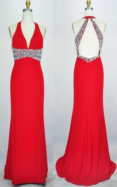 49ec6151935 Red Sheath Column V Neck Chiffon Sweep Train Sequins Long Prom Dress