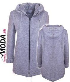 Dámsky šedý zimný kabát s kapucňou - trendymoda.sk