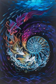Ocean Song Ocean Song Heike Rieck Landschaften Blumen usw Painted with acrylics on canvas The spiral in a snail s shell nbsp hellip canvas music Sacred Geometry Art, Sacred Art, Psychedelic Art, Mandala Design, Composition Photo, Art Fractal, Oceans Song, Visionary Art, Art Inspo