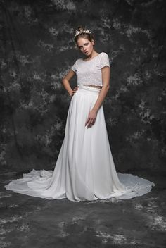 Pureza Mello Breyner Atelier - cotton lace and silk chiffon skirt for modern brides! #bride #modern #lace #cotton #silk #romantic #bridal #dress #designer #wedding #dress