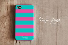 iphone 4 case , iphone 4s case , case for Iphone 4 Blackberry mobile Case handmade: Horizontal stripes(Pink and Turquoise color ). $19.90, via Etsy.