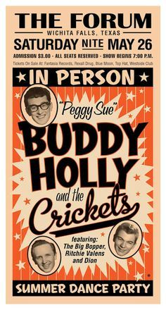 Buddy Holly by Gary Grayson Vintage Menu, Vintage Posters, Beatles, Concert Posters, Music Posters, Theatre Posters, Holly Pictures, Tom Whalen, Ritchie Valens
