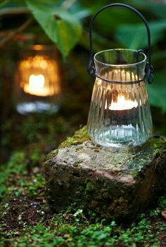Vintage glass outdoor candle holders for lighting up the backyard