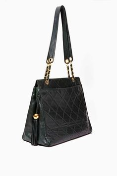 1db0aa15b4ad Vintage Chanel Hunter Green Quilted Leather Tote Chanel Tote, Chanel  Handbags, Tote Handbags,