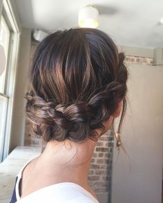 Beautiful crown braid updo wedding hairstyle for romantic brides - Bridal hairstyle. Get inspired by this low updo bridal hair gorgeous styles,hairstyles