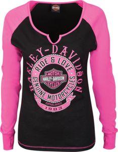Harley-Davidson® Shirt, Longsleeve Women's, Black & Pink