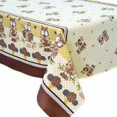 Toalha de mesa estampada corujas 1,45x1,45m