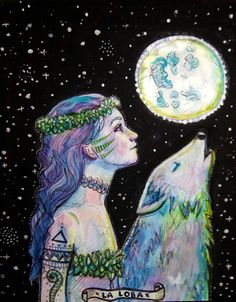 The Wild Woman ~ Wolf Spirit Animal Art Print Lobo Wallpaper, Wolf Tattoos For Women, Wolves And Women, Wolf Spirit Animal, Spirit Animal Tattoo, Wolf Artwork, Cosmic Art, Animal Symbolism, Psy Art