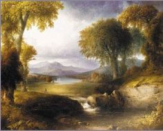 The Hudson .  (Thomas Cole (1801-1848) was an English-born American Artist. He is regarded as the founder of the Hudson River School, an American art movement that flourished in the mid-19th century. Cole's Hudson River School, as well as his own work, was known for its realistic and detailed portrayal of American landscape and wilderness, which feature themes of Romanticism and Naturalism.)