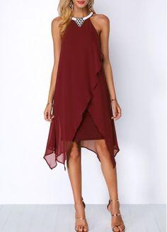 Embellished Neck Chiffon Overlay Blue Dress – Worthcloth: More Fashion Style To Choose Trendy Dresses, Women's Fashion Dresses, Cute Dresses, Casual Dresses, Short Dresses, Party Dresses, Red Chiffon, Chiffon Dress, Dress Skirt