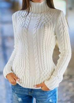 Sólido blanco de manga larga con cuello alto suéter    Fashionerly  Chalecos e9b7fd2dbece