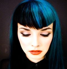 Blue in the v-bang with black