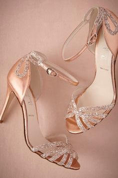 Rose gold glittered heels - nothing wrong with a little glitter on your wedding shoes   Pinned from http://greenweddingshoes.com/bhldn-fall-2014-collection/ via ashley morawitz  #WeddingShoes #RoseGoldShoes