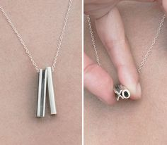 Necklace This HIdden Message Necklace may be the coolest version of a keepsake initial necklace we've seen. - Mother's Day might be over, but we bet a Mrs Necklace, Initial Necklace, Book Necklace, Jewelry Box, Jewelry Accessories, Fashion Accessories, Bijou Box, 3d Prints, Pear Shaped Diamond