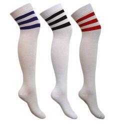 Ladies//Girl Referee Knee High 118 Stripe Socks Sport Football Fan Hen Party 4-7