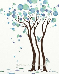 Dragonfly Wall Art, Watercolor Tree Art Print 8 x 10, Blue Green Decor, Modern Nature Print Watercolor circles in blue and green form this wonderful tree. In addition I have added a few dragonflies which are beautiful creatures and are said to symbolize joy. This 8 x 10 tree print was made using Epson premium presentation matte paper along with Claria High Definition inks ensuring that the colors I have chosen for the artwork will be remain bold with crisp lines. Our archival quality ar...
