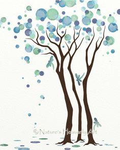 Dragonfly Wall Art Watercolor Tree Art Print by NaturesHeavenlyArt, $15.00