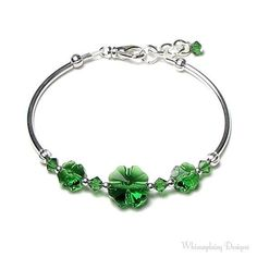 Green clear beads bangle. Craft ideas from LC.Pandahall.com