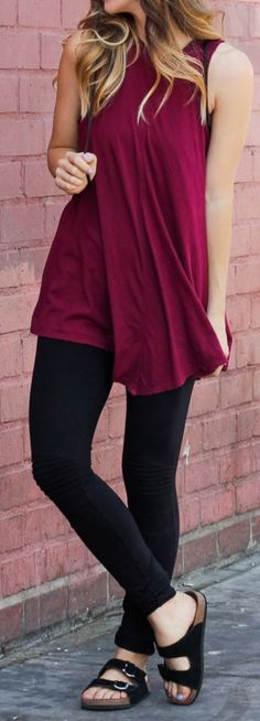 Truly Madly Deeply Burgundy Pointy Hem Loose Long Line Tank