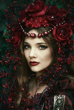 women in floral headdress
