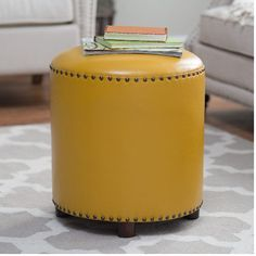 Round Leather Ottoman Nailhead Trim Footstool Family Living Room Den Yellow - Ottomans, Footstools & Poufs