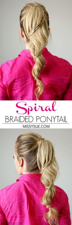 This spiral braided ponytail is such a fun way to spice up your ponytail. I'm such a fan of ponytail Braided Hairstyles Tutorials, Ponytail Hairstyles, Cool Hairstyles, Hair Tutorials, Hairstyle Ideas, Everyday Hairstyles, Straight Hairstyles, Spiral Braid, Ponytail Tutorial