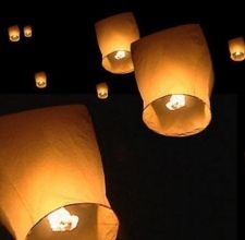 DIY Flying Paper Lanterns! My dad used to tell me about when he was a kid in the 50s, they'd get thin paper grocery bags, put a tea light in the bottom, close them up, and watch a whole flotilla of illuminated lanterns rise up out of the field.