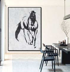 Extra Large Acrylic Painting On Canvas, Minimalist Painting Canvas Art, Black And White Horse, HAND PAINTED Original Art.