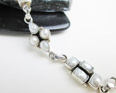 1960s Freshwater Pearl Bracelet, Sterling Silver, Boho, USA.  by TampicoJewelry, $119.00