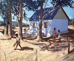 Andrew Macara Premium Thick-Wrap Canvas Wall Art Print entitled Little white house, Karoo, South Africa (oil on canvas) Painting Of Girl, Painting Prints, Wall Art Prints, Poster Prints, Africa Painting, Children In Africa, Little White House, Unique Paintings, Oil Paintings