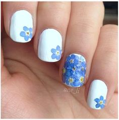 Forget me not wedding nails!