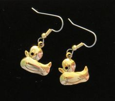 Rubber Ducky Earrings 24 Karat Gold Plate Baby Shower Party Favor Gift Bath Time Ducks Duck Beach Pool Swim EG531 by NostalgicCharm on Etsy